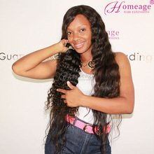 Homeage deep wave/curly natural virgin remy european human hair weave