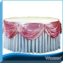 round ruffled satin fabric table skirt