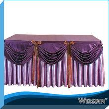 purple decorative restaurant table skirt