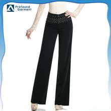 Latest design fashion rhinestones beaded embroidery design mid waist long women plus size pants