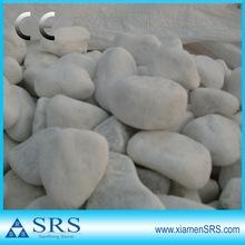 Machine cut white pebbles