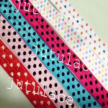 polka dot headband elastic,fold over elastic,hair tie elastic, elastic, solidFOE