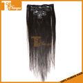 Chaude! L'arrivée de nouveaux 100% brésilienne de cheveux humains remy soyeux 7pcs/set couleur 1b# clip en extensions de cheveux pour les femmes noires