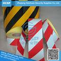 Negro/amarillo de tamaño personalizado de advertencia de peligro reflexivo marcado cinta reflectante marcado cinta