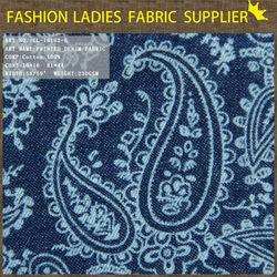 2015 high quality denim fabric,100%cotton denim fabric,fashion print denim fabric discharge print