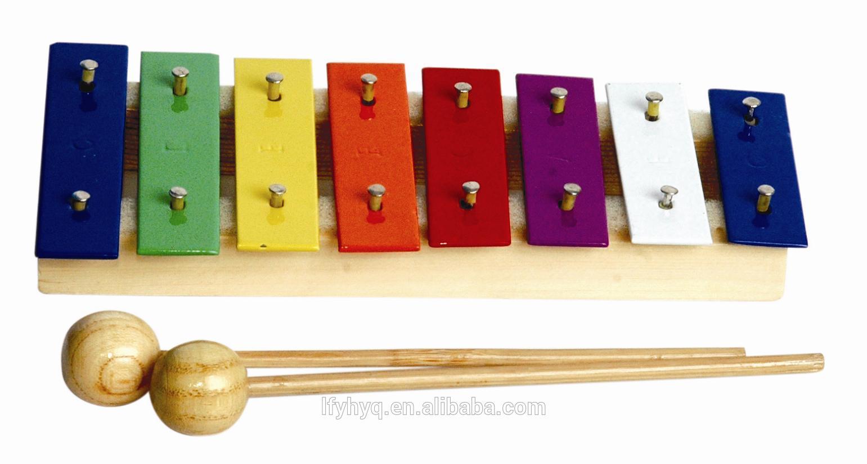 Yeni tasarım gökkuşağı ahşap oyuncak mini ksilofon aletleri ctl8