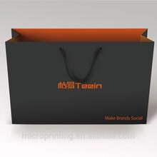 Black Luxury T shirt garment paper packaging case bag with logo printing