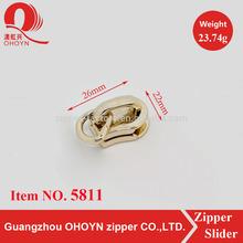 No.5811 hot sale light gold non lock ring zipper slider in guangzhou