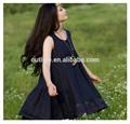 2014 verano caliente de la venta de flores de fantasía vestidos para niñas sin mangas con la rana botón de encaje el borde fronterizo