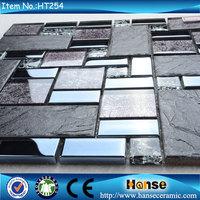 HT254 300X300MM adhesive stone mosaic tile mix glass