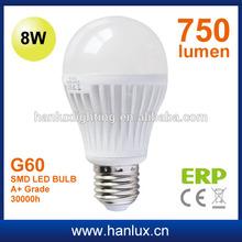 8W G60 LED bulb 420lm conductive plastic aluminium body E27 base 30000h life CE ROHS ERP