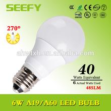 Manufacturer A60 A19 UL Listed Cool white 5000K Warm White 2700K 3000K 6w E26 led bulb