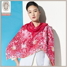 100% Silk Hand Printed plain Wholesale Chiffon Shawl