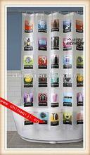 2014 new style printed peva cartoon shower curtain