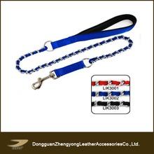 Soft nylon dog leash with metal chain