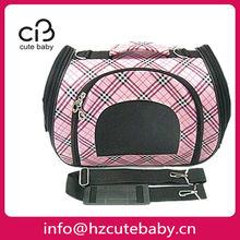 pink grid folding dog carrier