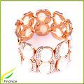 diamantes de imitación y de aleación de perlas pulsera brazalete en color oro
