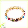 Cor do arco-íris liga strass pulseira em cor de ouro