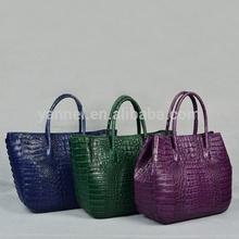 Genuine women Crocodile lady tote bag_crocodile bag-exotic handbag_caiman crocodile lady bag
