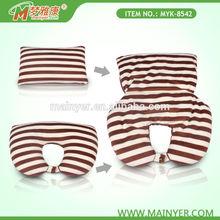 2014 new style coffee stripe microbeads folding travel pillow Neck Pillow Total pillow