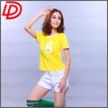 Projetos uniforme futebol feminino/manga curta futebol camisa de futebol para as mulheres com sua equipe de número