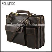 Roman style brown excellent quality hard men leather briefcase laptop bag