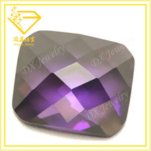 single checkerboard cut flat back amethyst octagon cubic zirconia rough gemstone for decorative