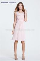 High Quality Jewel Fold A-line Knee length custom prom dress maker