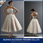 Ali-019 Cheap Strapless Ivory Tea Length Tulle Bridal Gown Appliques Hot Sale Short Wedding Dress