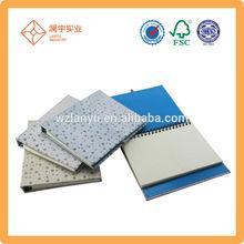 Cheap gift Fabric hard cover glitter spiral notebook