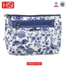 azul y blanco de porcelana impreso de algodón acolchado señora cosméticos bolsa