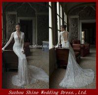 YWD10887 Vestidos De Noiva 2014 New Arrival V-Neck Bridal Wedding Dress Sexy Long Sleeves Lace Mermaid Wedding Dress