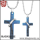 Alibaba Express Italy Blue Cross Stainless Steel Necklace Chain