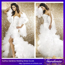 2014 New Arrival Sexy V-Neck Sweetheat High-low Lace Applique Back Organza Ruffled Long Train Short Skirt Bridal Gown (WD-011)