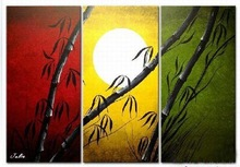 Stunning classic black Bamboo Triple pieces group oil painting