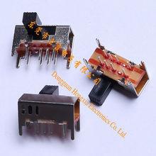 Horizontal tercera velocidad 10 Pin SK23D04 2P3T interruptor deslizante