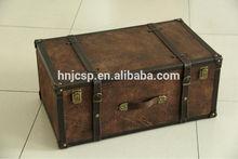 Suede set 2 antique rectangle storage trunks
