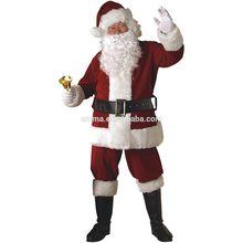 Deluxe Plush Crimson Dark Red Santa Claus Suit Costume halloween costume CM-1701