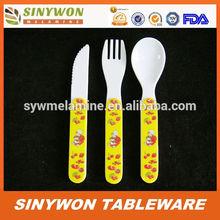 de calidad alimentaria de los niños de plástico melamina cucharas y tenedores cuchillos
