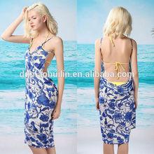 New Ladies Beachwear Blue Floral White Cover Up Sarong swimwear dress
