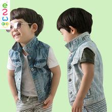 China Wholesale Custom Sleeveless Children Denim Vest