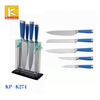 TPR and steel handle stainless steel knife set with acrylic block