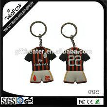 tourist souvenir keychain high quality PU keyrings soccer jersey keychain