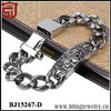 Chrome Color Stainless Steel Heart Cross Tribal Tattoo Curb Link Chain Bracelet