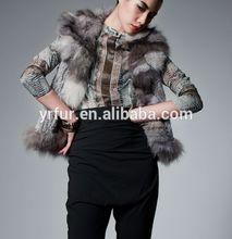Yr-470 Euro venda quente / real coelho malha e fox fur vest / atacado e varejo