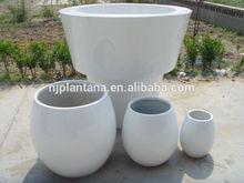 Glazed color large fiberglass planter,big round planter with diameter 120cm
