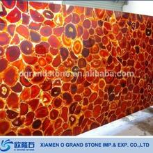 Large Indoor Transparent Onyx Red Backlit Agate Stone Slab