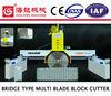 Single Beam Hydraulic Cylindrical Guided Bridge Saw Multi Blade Stone Cutting Machine