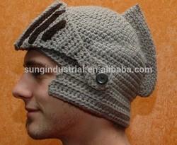 new 2014 novelty roman knight caps cool handmade winter warm knitted helmet ski mask hats for men beard beanies