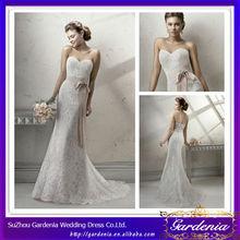 2014 New Arrival Beautiful Sheath Sweetheart Button Back Floor Length Sweep Train Overlay Irish Lace Wedding Dresses (AB0527)